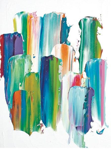 Les toiles colorées, vivantes et abstraites de l'artiste Hugo Landry sont exposées jusqu'au 30 septembre au salon Flash Coiffure, en plus de se retrouver aux cimaises des murs de la galerie Nob Hill.