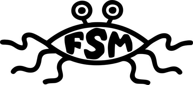 Le logo des pastafaristes, de l'Église du Monstre en Spaghettis volant, qui est pour les croyants une divinité.