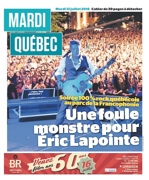 Éric Lapointe a fait déborder le parc de la Francophonie, le 11 juillet 2016.