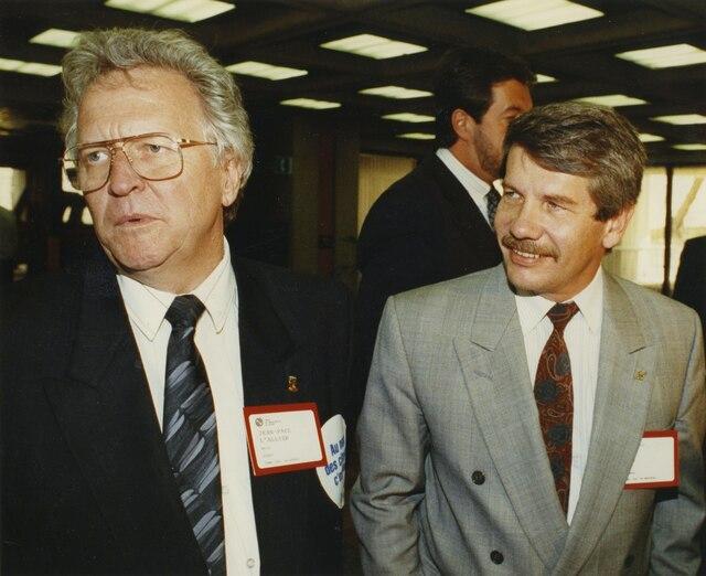 Le maire de Quebec, Jean-Paul L'Allier et Jean Dore, maire de Montreal.06 mai 1991PHOTO KARL TREMBLAY / LES ARCHIVES / LE JOURNAL DE QUEBEC