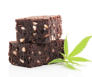 Cannabis brownie.