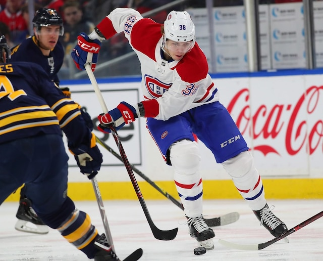 BUFFALO, NY - MARCH 23: Nikita Scherbak #38 of the Montreal Canadiens skates up ice with the puck during the first period against the Buffalo Sabres at KeyBank Center on March 23, 2018 in Buffalo, New York.   Kevin Hoffman/Getty Images/AFP == FOR NEWSPAPERS, INTERNET, TELCOS & TELEVISION USE ONLY ==