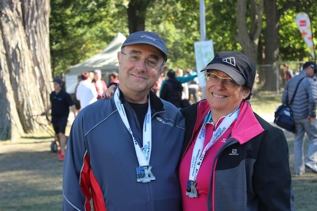 Yves Robert et sa compagne Sylvie Venne courent régulièrement, ensemble.