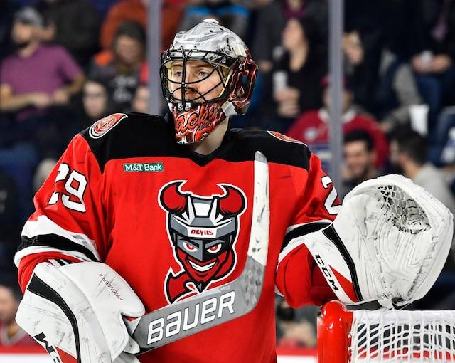 Mackenzie Blackwood (29) des Devils  lors de la troisième période du match de hockey de l'AHL entre les Devils de Binghamton et le Rocket de Laval à la Place Bell de Laval le mercredi 6 décembre 2017. MARTIN CHEVALIER / LE JOURNAL DE MONTRÉAL