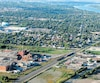 Du haut des airs, on voit l'immense usine de transformation du cuivre CCR, ainsi que le périmètre de 3,2 km carrés dans l'Est de la ville de Montréal où le taux d'arsenic dans l'air est deux fois trop élevé.