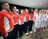 Les joueuses et les capitaines du Canada et du Belarus ont pris la pause après le tirage au sort de la Fed Cup.