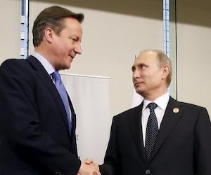 David Cameron et Vladimir Poutine, en novembre 2014