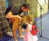 Le chanteur Anthony Lovison laisse Kira Atkinson, 4 ans, jouer avec sa guitare.