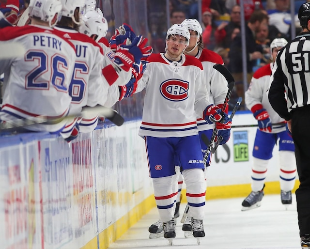 BUFFALO, NY - MARCH 23: Artturi Lehkonen #62 of the Montreal Canadiens celebrates his goal against the Buffalo Sabres with teammates during the second period at KeyBank Center on March 23, 2018 in Buffalo, New York.   Kevin Hoffman/Getty Images/AFP == FOR NEWSPAPERS, INTERNET, TELCOS & TELEVISION USE ONLY ==