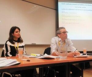 À gauche, l'ex-conseillère en éthique clinique de la direction générale du Collège des médecins, Michèle Marchand, au centre la député Véronique Hivon et à droite, l'avocat Jean-François Leroux.