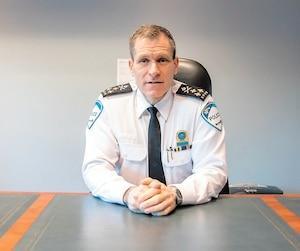 Le directeur par intérim de la police de Montréal, Martin Prud'homme, a reçu les représentants du <i>Journal</i> dans son nouveau bureau mercredi.