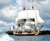 <i>L'Hermione</i> est une réplique d'un navire de guerre français de la fin du 18<sup>e</sup> siècle qui a servi au marquis de LaFayette pour aider les Américains dans leur guerre d'indépendance en1780.