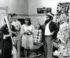 Rénald, Réjean, Thérèse, Pôpa et Môman lors de la première émission de La Petite Vie, Le voyage à Plattsburgh, diffusée le 16 octobre 1993.