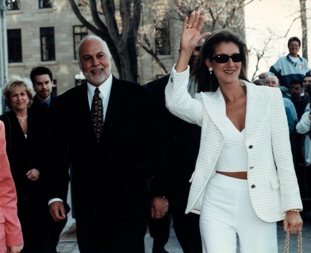 CELINE DION. 30 avril 1998- Nomination de Celine Dion  A titre d'Officier de l'Ordre national du Quebec. René Angelil et Céline Dion (PHOTO SERGE LAPOINTE | LE JOURNAL DE QUEBEC )