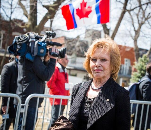 Funérailles à la mémoire de Monsieur Jean Lapierre et de Madame Nicole Beaulieu à l'église St-Viateur d'Outremont à Montréal, le samedi 16 avril 2016. Sur la photo: Lysette Lapointe. TOMA ICZKOVITS/AGENCE QMI