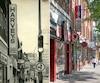 Voici ce à quoi ressemblait l'affichage commercial à l'angle des rues Sainte-Catherine Ouest et Saint-Marc, au centre-ville de Montréal, dans les années1970 (à gauche), comparativement à aujourd'hui (à droite).