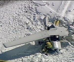 L'avion qui s'est écrasé sur le toit des Promenades St-Bruno a failli causer une catastrophe en tombant sur des conduites de gaz naturel (en jaune). Par chance, les tuyaux ont résisté à l'impact et la neige a empêché le carburant inflammable de l'appareil de s'étendre sur le toit.