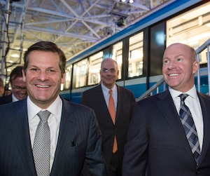 Pierre Beaudoin, président du conseil d'administration de Bombardier, et Alain Bellemare, président et chef de la direction de Bombardier, ont vu leur revenu augmenter en 2016.