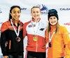 La Montréalaise Alyson Charles (à gauche) a créé une surprise en décrochant la médaille de bronze du 500m derrière la gagnante (au centre), la Polonaise Natalia Maliszewska, et la Néerlandaise Yara van Kerkhof.