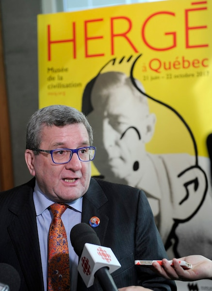 Conference de presse du musee de la Civilisation de Quebec pour l'exposition de juin prochain, Herge a Quebec, jeudi le 30 mars 2017. Le maire de Quebec Régis Labeaume. STEVENS LEBLANC/JOURNAL DE QUEBEC/AGENCE QMI)