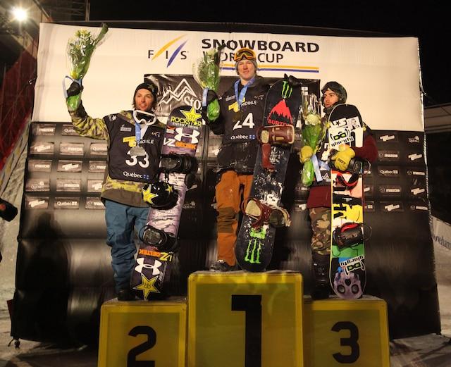 Chez les hommes, Darcy Sharpe (or), Tyler Nicholson (argent) et Eric Beauchemin (bronze) ont pris place sur le podium.