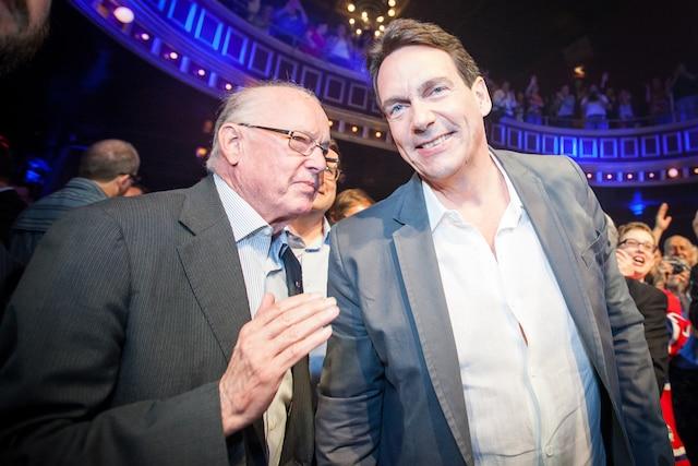 L'ancien premier ministre Bernard Landry était présent pour appuyer le baron de la presse.
