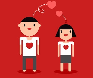 Couple cartoon lover on white t-shirt red background