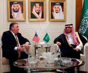 Mike Pompeo et Adel al-Jubeir in Riyadh, ministre saoudien des Affaires étrangères