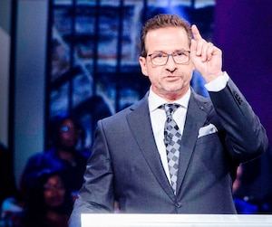 Le chef bloquiste Yves-François Blanchet lors du débat en anglais de lundi soir.