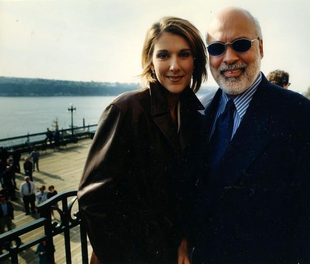 Céline Dion et René Angelil sur la Terrasse Dufferin à Québec. Mai 1996. Photo Camil Lesieur / Le Journal de Québec.