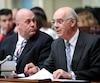 L'ancien ministre des Transports Jacques Daoust, est accompagné sur cette photo par Pierre Ouellet, à la gauche.