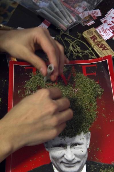 Des membres de la DC Marijuana Coalition roulent 4200 joints qui seront allumés lors de l'inauguration de Donald Trump.