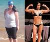 Caroline Albert a perdu 125 livres depuis deux ans. On la voit à droite dans une compétition de culturisme.