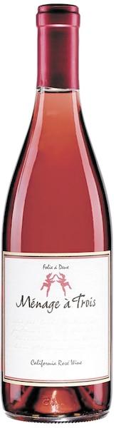 Ménage à trois folie à deux, vin rosé États-Unis, 13,1% 109 calories 13g de sucre résiduel par litre