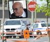 À l'intersection où la victime s'est arrêtée, il y a un abribus de la Société de transport de Laval. Et à l'intérieur, le tireur attendait patiemment l'arrivée du sexagénaire au VUS blanc.