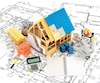 building and construction materials located on top of the drawings. 3D illustration