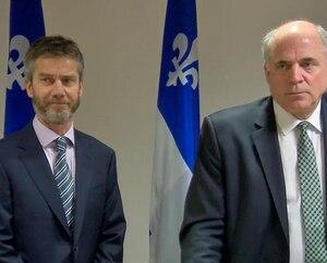 Guy LeBlanc ainsi que le ministre de l'Économie et de l'Innovation du Québec, Pierre Fitzgibbon