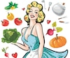 Pin up girl in an apron with vegetables cooking concept