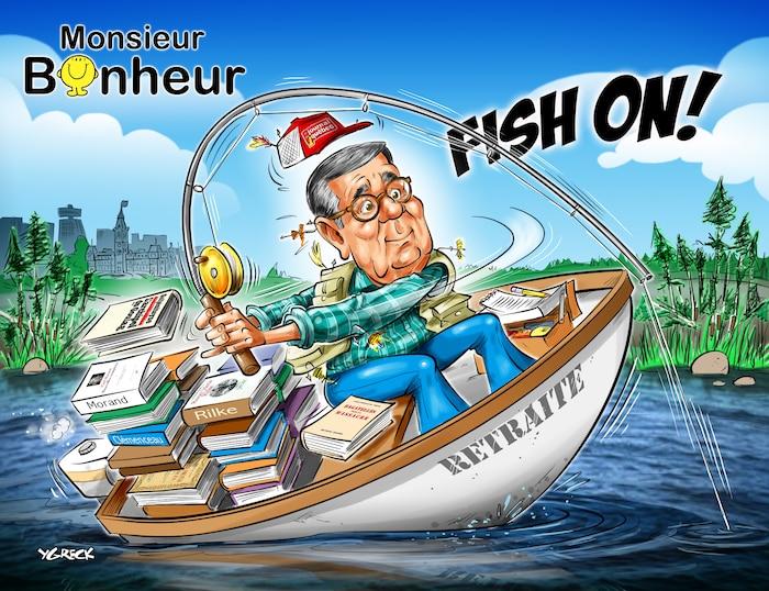 opinions - caricature offerte à Michel Hébert pour sa retraite -