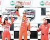 Valérie Limoges, Kevin King et Nicolas Barrette ont célébré sur le podium après la course de la Coupe Nissan Micra hier au Grand Prix de Trois-Rivières.