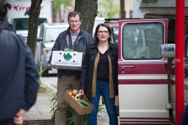 Plateau de tournage de BOOMERANG  Sur la photo... Marc Messier et Marie-Thérèse Fortin  Montréal, Québec, Canada.  Le mercredi 29 mai  2019  PHOTO: MARTIN ALARIE / JOURNAL DE MONTREAL /  AGENCE QMI