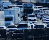 File photo of a traffic backing-up as it travels north from San Diego to Los Angeless along Interstate Highway 5 in California