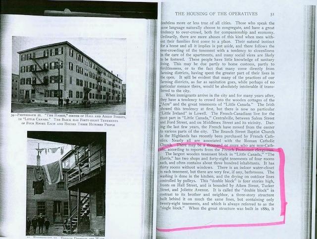 Photo d'unlivre qui illustre l'immeuble d'ouvriers, où a grandi Louis Cyr avec sa famillequand ils sont arrivés à Lowell en1878.