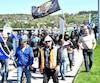 Les travailleurs de la construction en grève ont pris d'assaut le pont Sainte-Anne, jeudi à Chicoutimi.
