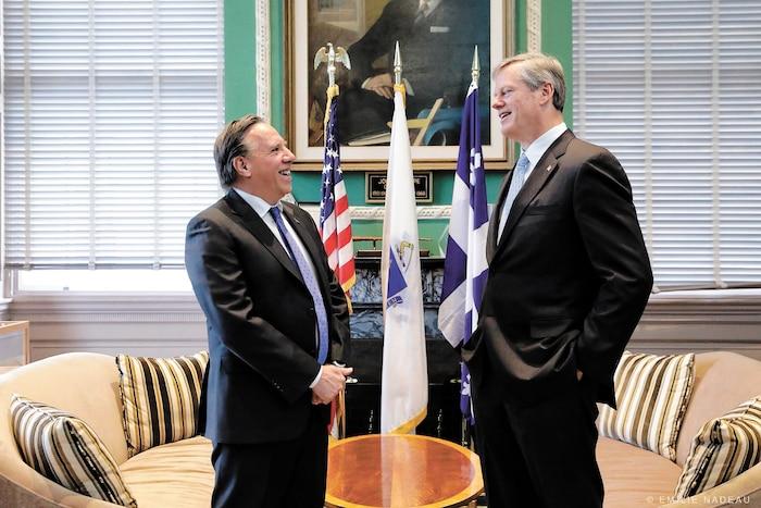 François Legault – qu'on voit ici auprès du gouverneur du Massachusetts, Charlie Baker – passe le message que le Québec est ouvert aux affaires durant ses missions économiques. Mais est-ce vrai?