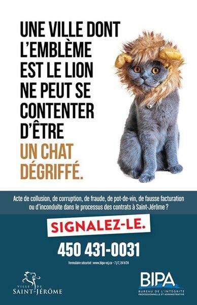 Voici les 11 publicités qui ont été affichées dans tous les édifices municipaux de Saint-Jérôme le mois dernier et qui sont l'œuvre du graphiste Éric Raymond.