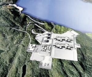 Illustration du site que propose Énergie Saguenay pour son port méthanier sur les rives de la rivière Saguenay.