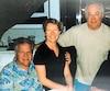 L'entrepreneur Tony Accurso, la conjointe de Richard Marcotte Shirley Wilkinson, l'ex-maire de Mascouche M.Marcotte et le président fondateur de la FTQ Construction Jean Lavallé sur le Touch. La photo est tirée de l'album de la famille Marcotte.