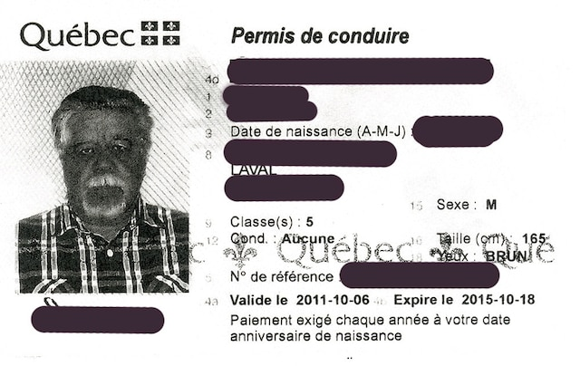 La photo d'un suspect se trouve sur un faux permis de conduire qui a été laissé à la notaire pour conclure la transaction immobilière.