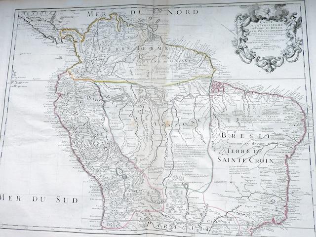 Carte du Pérou et du Brésil, datée de 1703.